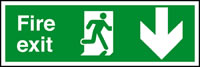 Fire exit arrow down sign.