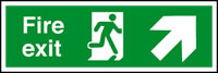 Fire exit arrow up right sign.