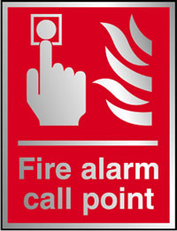 Fire alarm call point sign.