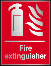 Fire extinguisher sign.