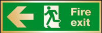 Fire exit man at door left arrow sign.