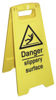 Danger slippery surface sign.