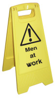 Caution - men at work sign.