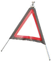 Red reflective triangle with own text/symbol sign.
