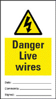 Danger live wires - pack of 10 tags.