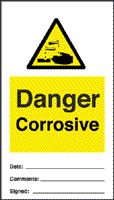 Danger corrosive - pack of 10 tags sign.
