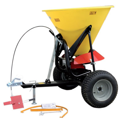 commercial tow spreader. for use in large commercial areas with high volume of traffic 250kg hopper capacity with a typical spread width of up to 9m standard ball hitch attachment for easy towing with removable debris screen filters material.