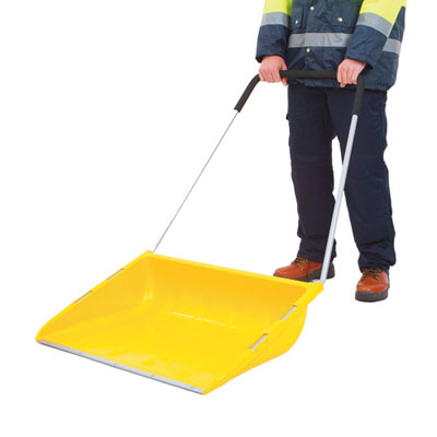 snow mover. deep plastic scoop designed to move deep snow quickly reinforced steel wearstrip protects blade edge steel handle with foam cushion handle.