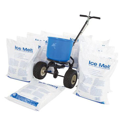 ice melt kit with 10 bags 1 spreader. Be fully prepared for winter with this money-saving kit contains 2 x 10kg ice melt and hand held spreader.