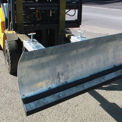 fork lift snow plough 1220 mm wide angled blade design to ensure efficient snow clearing corrosion resistant galvanised finish with robust 6mm thick steel.