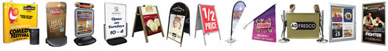 UK suppliers of street signs. exhibition display stands, a-boards and flags.