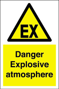 Ex : danger explosive atmosphere sign.